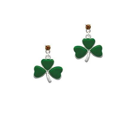 Large Green Shamrock - Brown Crystal Post Earrings