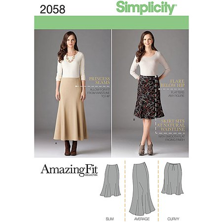 Simplicity Misses' & Plus Size 10-18 Amazing Fit Skirt Pattern, 1 Each