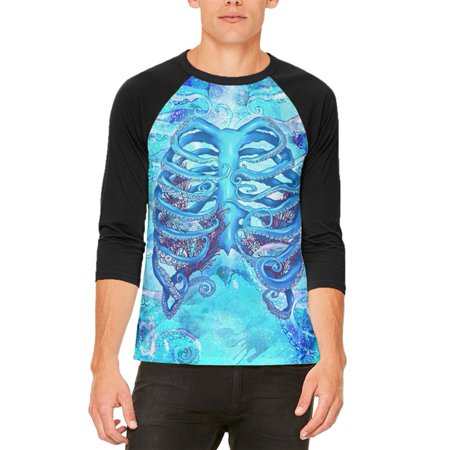 Halloween Octopus Kraken Skeleton Ribs Costume Mens Raglan T Shirt