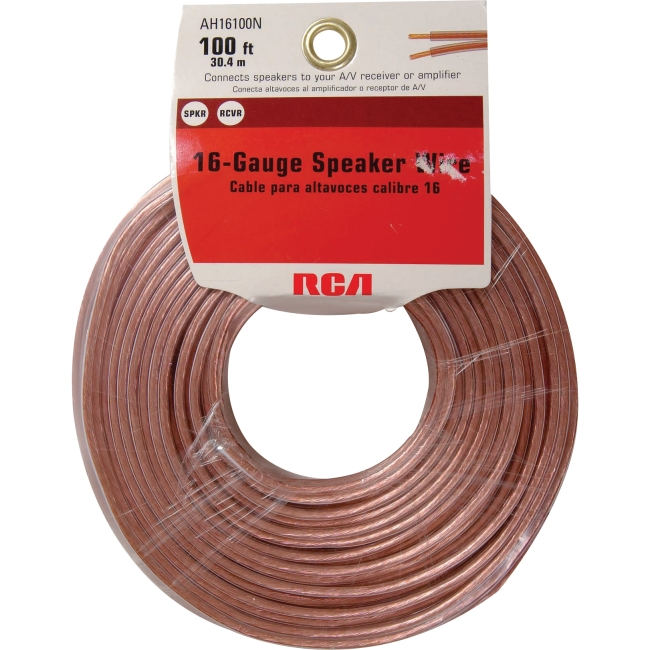 RCA Audio Cable - for Speaker - 100 ft - Clear