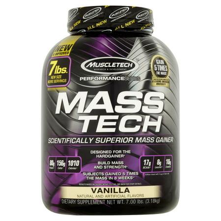 - Muscletech Mass Tech Gainer Protein Powder, Vanilla, 60g Protein, 7 Lb