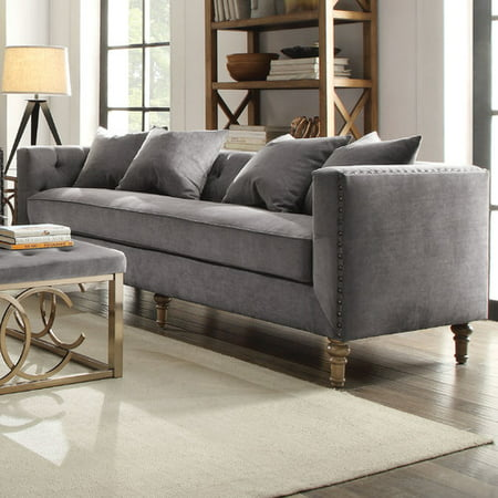 Acme Sidonia Down Feather Filled Sofa With 4 Pillows Grey Velvet