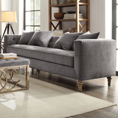 4 Sofa - ACME Sidonia Down Feather Filled Sofa with 4 Pillows, Grey Velvet