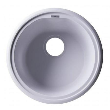 ALFI Brand AB1717UM-W Undercount Round Granite Composite Kitchen Prep Sink - White, 17 in. - image 1 of 1
