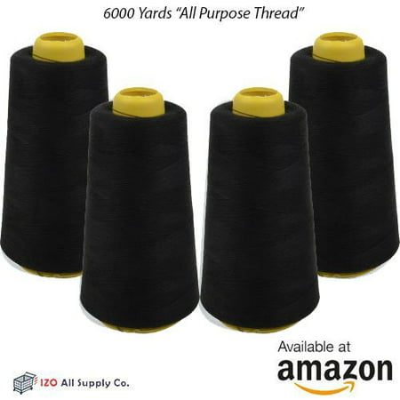 High Strength Thread Lock - 4-Pack of 6000 Yards (EACH) Black Serger Cone Thread All Purpose Sewing Thread Polyester Spools Overlock (Serger,Over lock, Merrow, Single.., By IZO Home Goods