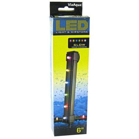 Aqua Color Light (Via Aqua LED Light & Airstone Slow Color Changing 1.8 Watts - 6 Long (6 Multicolor LED's) )