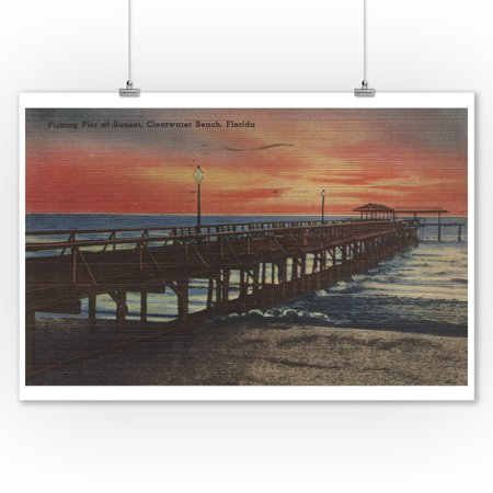 Clearwater  Florida   Sunset View Of Fishing Pier  9X12 Art Print  Wall Decor Travel Poster