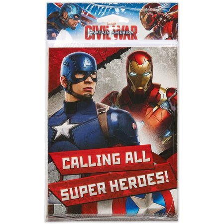captain america civil war invite and thank you combo pack 8ct