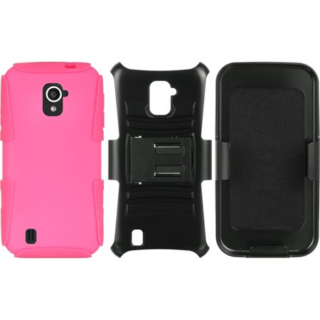 ZTE Source Case, by Insten Hybrid Hard Plastic/Silicone Dual Layer Case Skin with Holster For ZTE Source - Black/Hot Pink - image 1 of 5