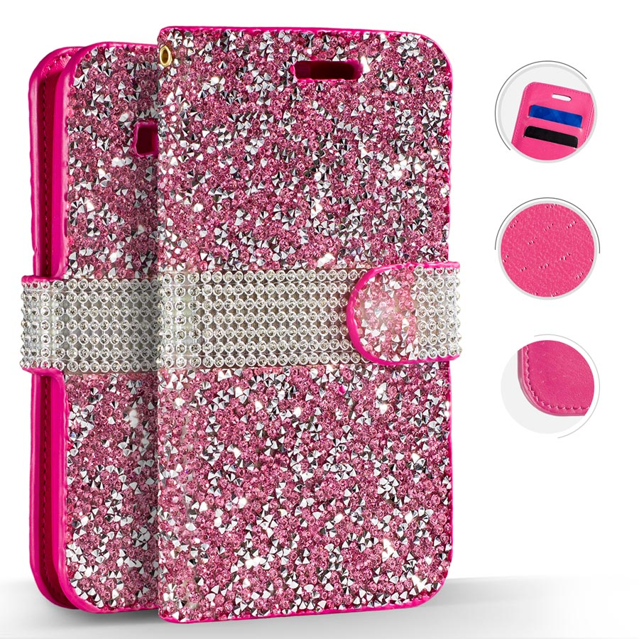 ZV Diamond Bling Flap Pouch LG Stylo 4 - Wallet Case w/ Credit Card Slots And ID Holder