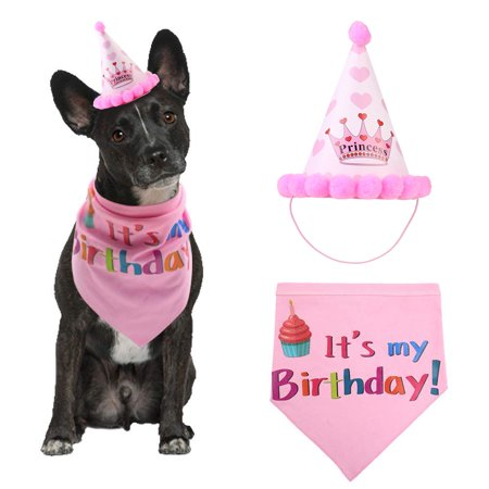 Pet Dog Birthday Bandana Triangle Scarf and Hat Doggie Party Accessories Puppy Birthday Decorations Kit