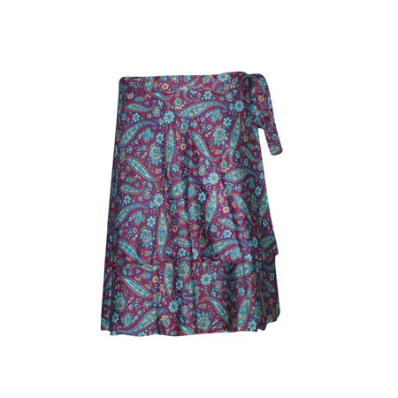 Mogul Silk Sari Wrap Around Skirt Two Layer Reversible Printed Premium Magic Short Skirts