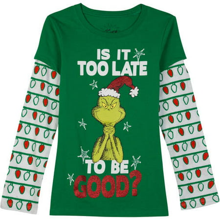 189570e878e Dr. Seuss - Dr Seuss Girls Is It Too Late To Be Good Grinch Holiday T-Shirt  Tee Shirt - Walmart.com