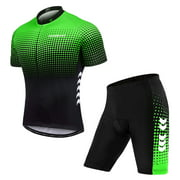 TOM SHOO Men's Summer Short Suits Cycling Set CyclingJersey with 5D Padded Riding Shorts Quick Dry Breathable Cycling Jersey Set for Outdoor Sport Cycling Biking
