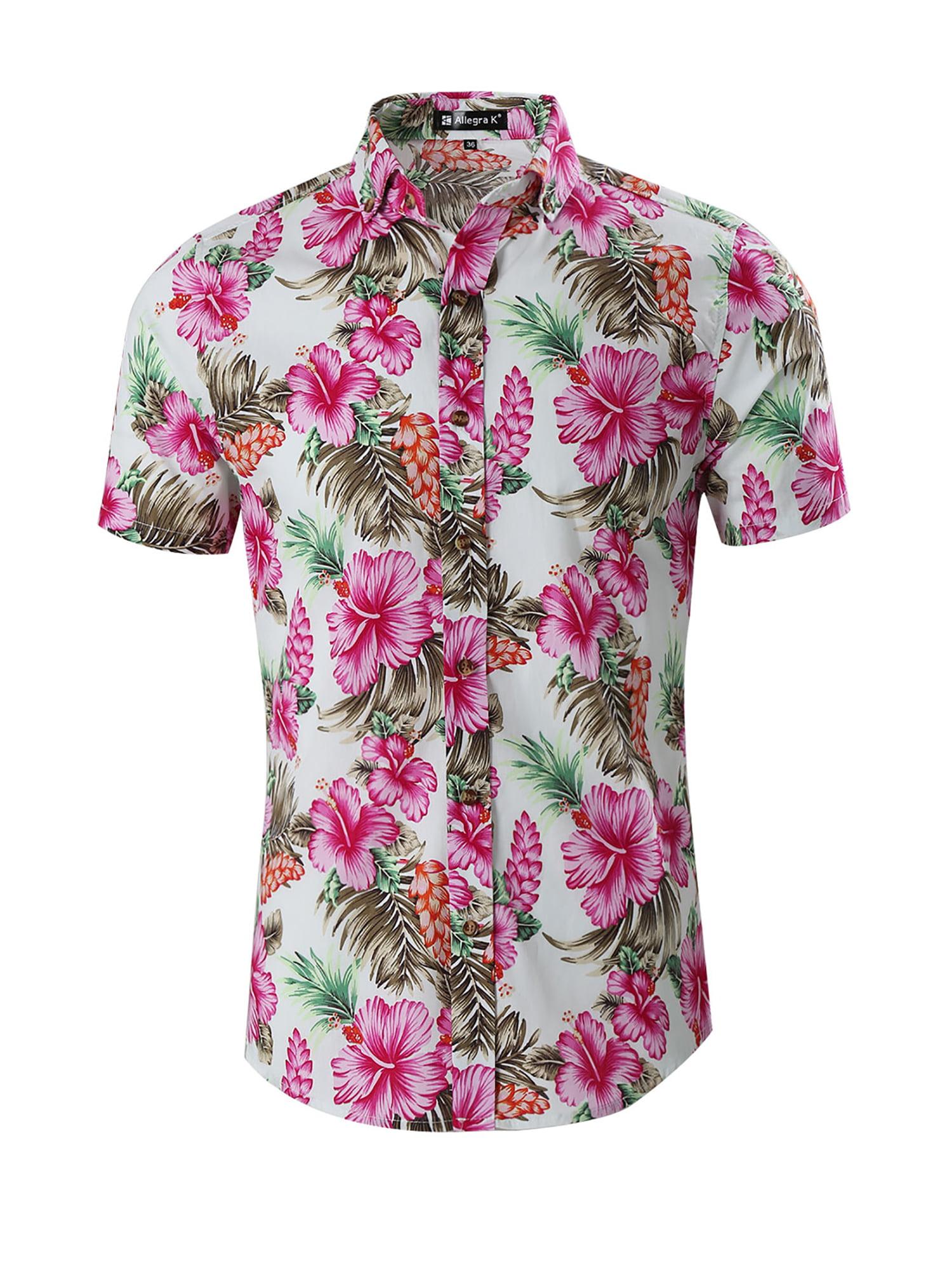 Floral Shirt Men Printed Button Down Short Sleeve Shirt Hawaiian Shirt Top Blouse,Green,XXL,C