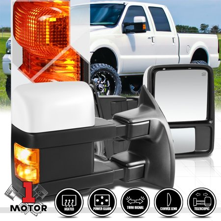 F350 Chrome Mirror Cover ([Pair]Power+Heated LED Signal Towing Side Mirror for 99-07 Ford F350 Super Duty 00 01 02 03 04 05 06)