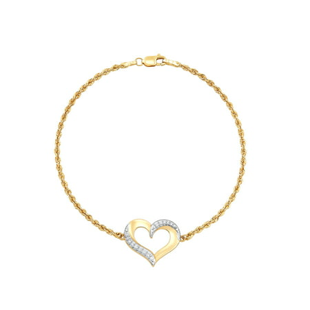 10K Yellow Gold Cubic Zirconia Open Heart Bracelet,