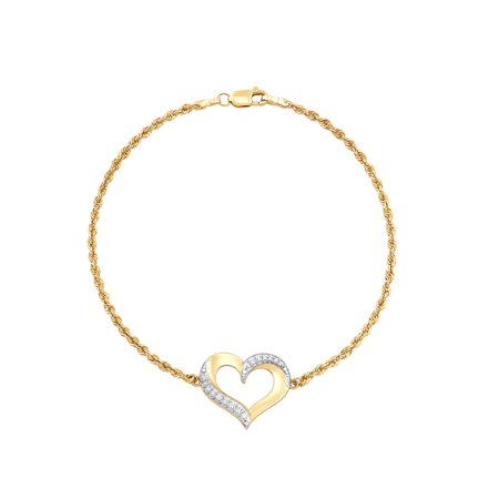 Brilliance Fine Jewelry 10K Yellow Gold Open Heart with Cubic Zirconia on Rope Bracelet, 7.5