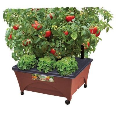 24.5 In. X 20.5 In. Patio Raised Garden Bed Kit with Watering System and Casters in Terra Cotta..., By CITY PICKERS Ship from US ()