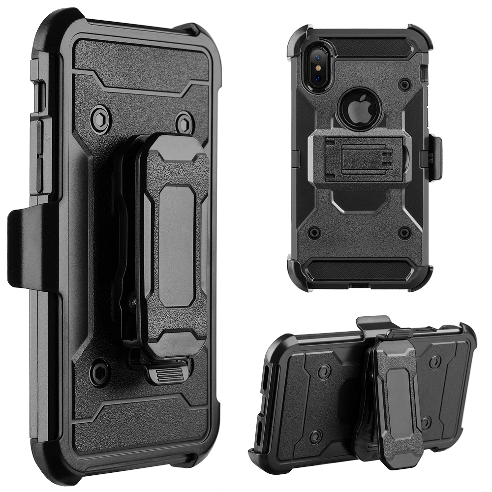 iPhone X Case Holster, Slim Apple iPhone X Holster Kickstand + Swivel Belt Clip Holder [Black] Dual Layer Protection/Shock-Absorbing/Smooth Grip iPhoneX/10 (2017)
