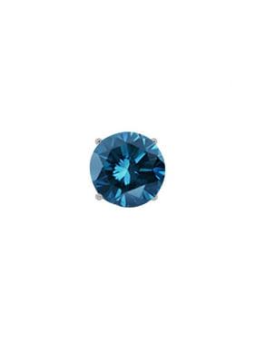 0.15 Ct Round Blue SI1-SI2 Diamond 14K White Gold Men's Single Stud Earring