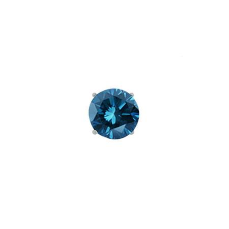 0.06 Ct Mens Diamond - 0.15 Ct Round Blue SI1-SI2 Diamond 14K White Gold Men's Single Stud Earring