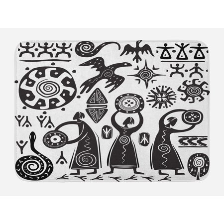 Primitive Bath Mat, Dancing Shaman Eagle Sun Snake Figure Prehistoric Cave Drawing Tribal Folk Theme, Non-Slip Plush Mat Bathroom Kitchen Laundry Room Decor, 29.5 X 17.5 Inches, Black White, (Tribal Sun Eagle)