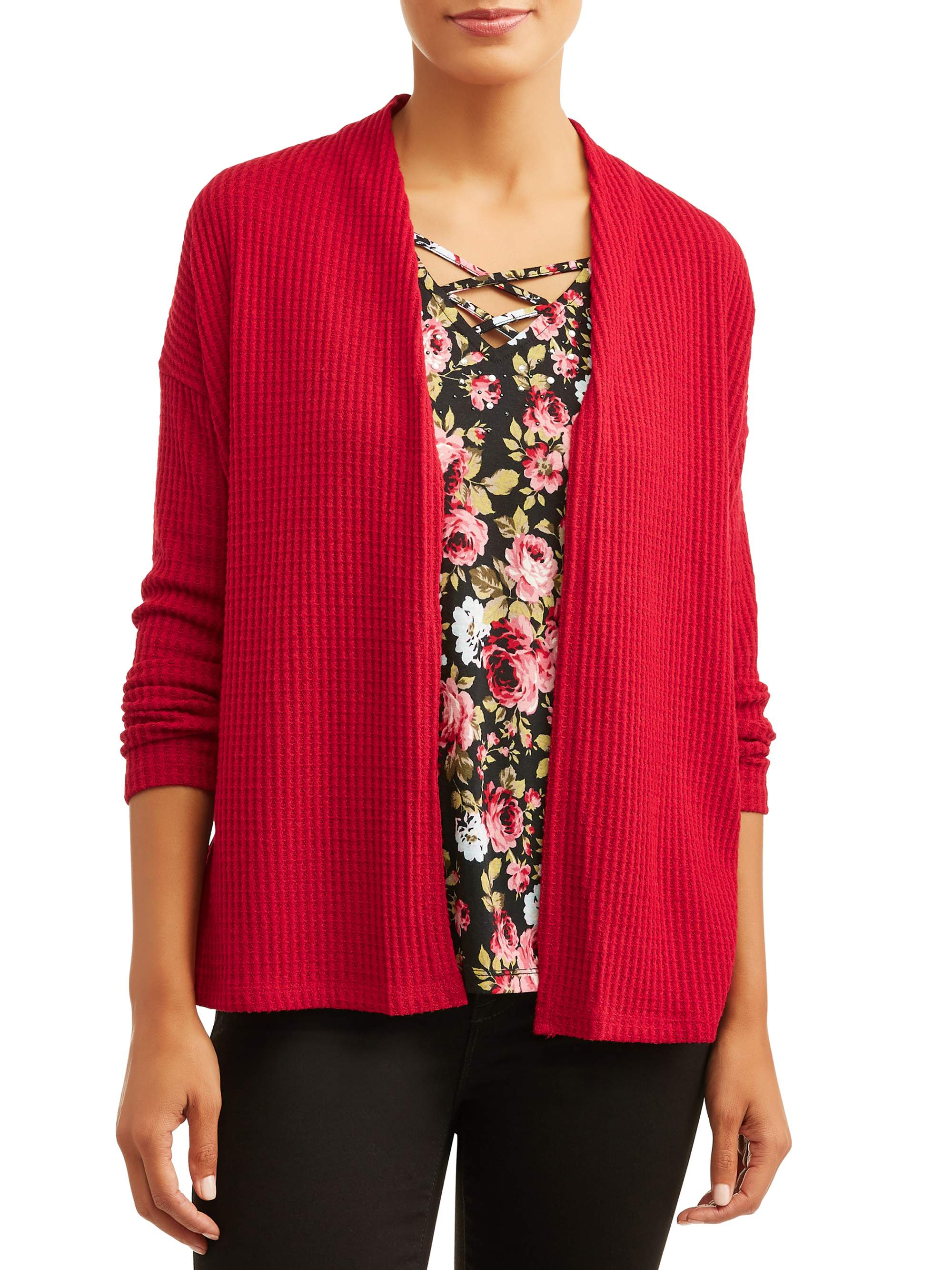 Women's Long Sleeve Embellished Top and Cardigan 2fer