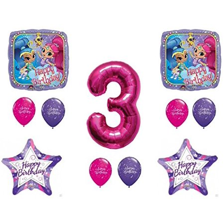SHIMMER AND SHINE 3rd Third HAPPY Birthday Party Balloons Decoration Supplies Genie Nick