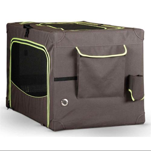 Pet Crate in Brown and Lime Green (Small - 24 in. L x 18 in. W x 17 in. H)