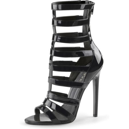 Womens High Gladiator Sandals Black Strappy Cage Shoes Back Zipper 5 Inch Heels Black High Heel Sandals