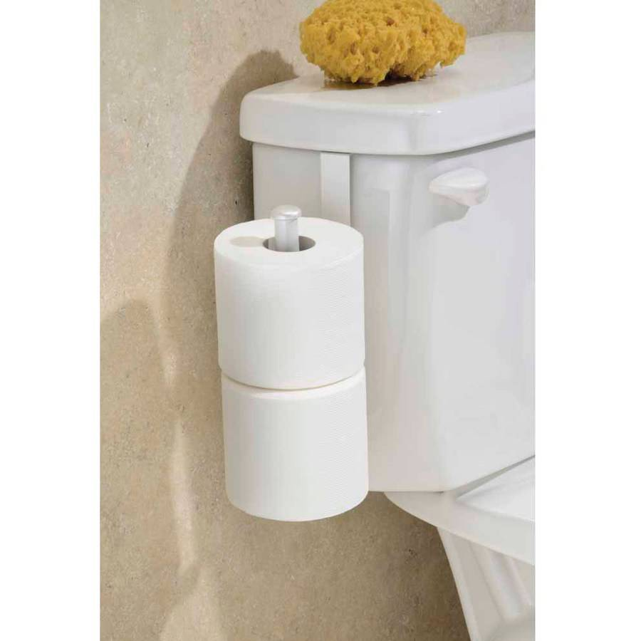 InterDesign Classico Toilet Paper Holder For Bathroom Storage, Over The  Tank, Pearl White