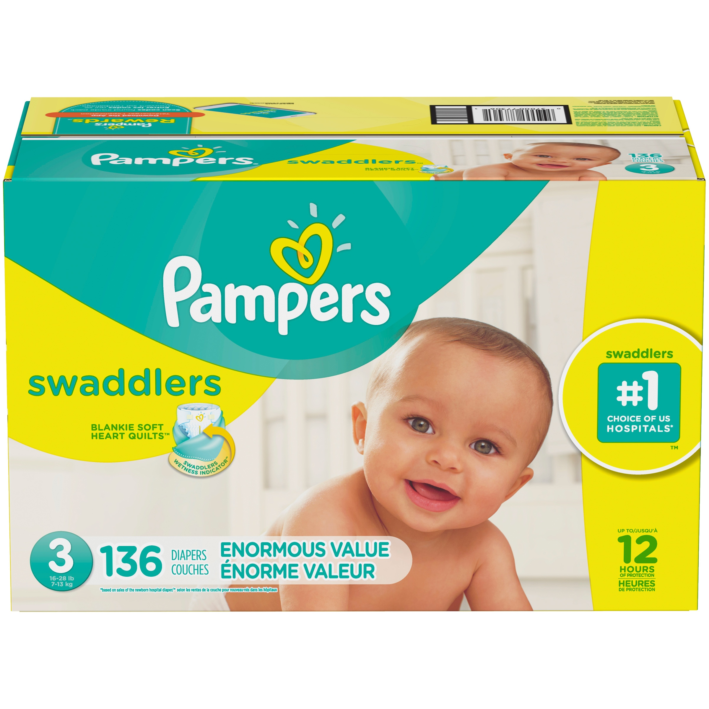 Pampers Swaddlers Diapers Size 3, 136 Count