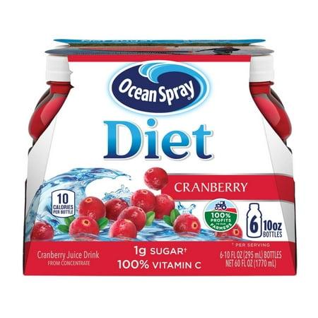 (2 pack) Ocean Spray Diet Juice, Cranberry, 10 Fl Oz, 6 Count