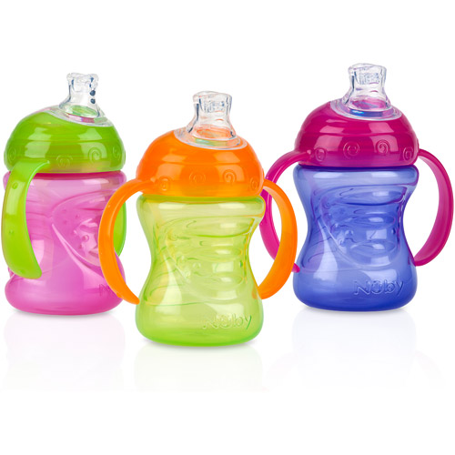 Nuby 3-Pack 8-oz 2 Handle Grip N' Sip Super Spout Trainer Cup, Girl, BPA-Free