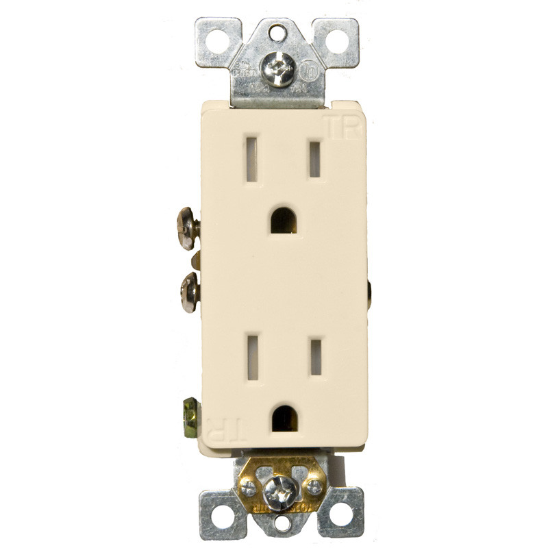 Morris Products 15A-125V Decorator Tamperproof Duplex Receptacle in Almond