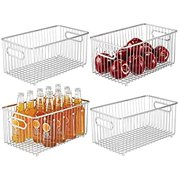 Metal Farmhouse Kitchen Pantry Food Storage Organizer Basket Bin - Wire Grid Design for Cabinets, Cupboards, Shelves, Countertops - Holds Potatoes, Onions, Fruit - 4 Pack - Chrome