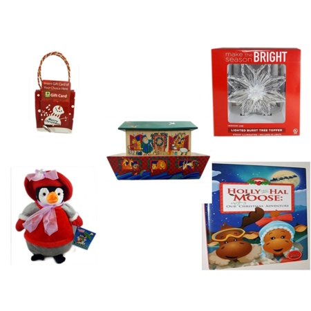 Christmas Fun Gift Bundle [5 Piece] - Musical Gift Card Holder Snowman - Deck The Halls Lighted Burst Silver Tree Topper - Noah's Ark Card Storage Display Box Hallmark - Penguin  12