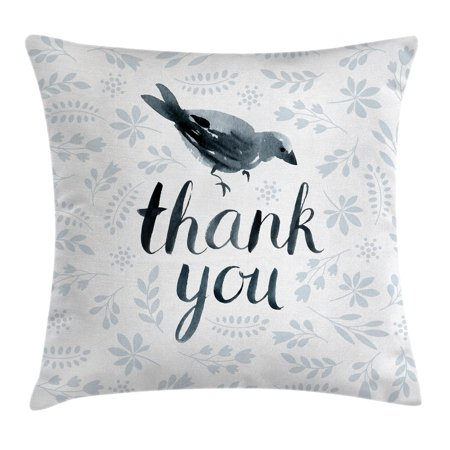 Animal Decor Throw Pillow Cushion Cover, Big Chubby Cute Bird with Water Color like Thank You Quote and Leaves Art, Decorative Square Accent Pillow Case, 18 X 18 Inches, Grey and Black, by Ambesonne - Cute Chubby Teen