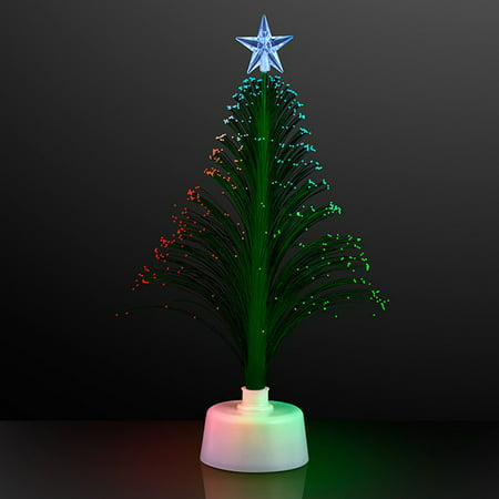 FlashingBlinkyLights Green Light Up Fiber Optic Christmas Tree Centerpiece