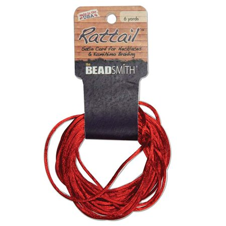Satin Rattail Braiding Cord 1mm Red 6 Yards - For Kumihimo, Macrame & Knotting Red Satin Cord