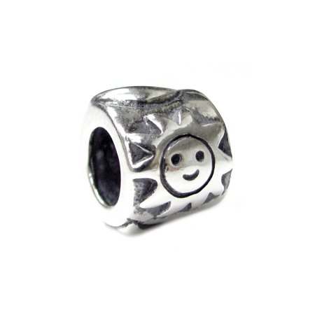 Queenberry Sterling Silver Happy Face Sun Moon Star European Style Bead Charm Fits Pandora