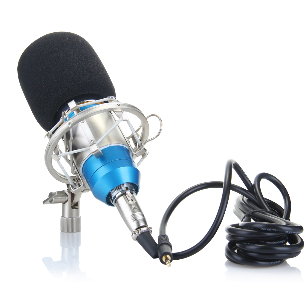 Excelvan Cardioid Condenser Microphone For Studio Recording With Shock Mount Blue BM-800