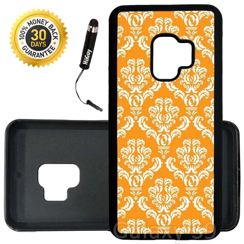 Custom Galaxy S9 Case (Damask Pumpkin) Edge-to-Edge Rubber Black Cover Ultra Slim | Lightweight | Includes Stylus Pen by Innosub