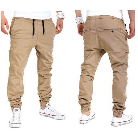 (Men Male Casual Solid Cotton Pants Sweatpants Jogger Pocket Trousers)