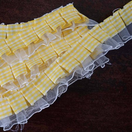 Artwork Polyester Lace (Efavormart 25 YARD Ruffle Lace Trim With Satin Edged Organza Fabric And Gingham Polyester For Dress Craft Sewing Trimming  - WHITE)