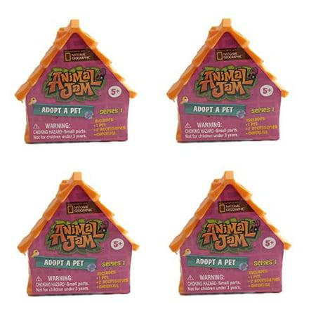 Nat Geo's Animal Jam Adopt A Pet Minifigures. Set of 4 Blind Houses. - Animal Jam Halloween Den