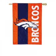 Team Sports America Denver Broncos Outdoor Safe Double-Sided Embroidered Logo Applique House Flag, 28 x 44 inches