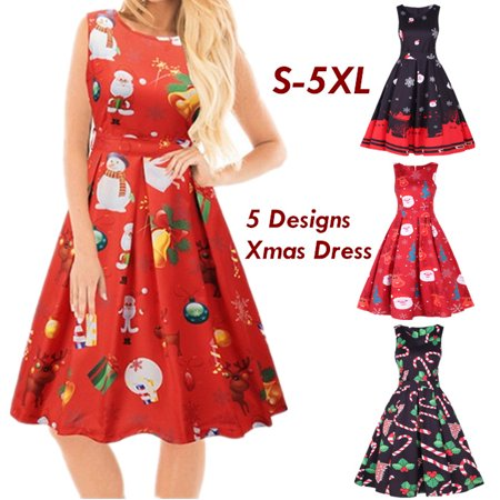 Womens Santa Christmas Dress Sleeveless Xmas Swing Retro Dresses Snow elk Santa Claus Party Dresses - Snow Coming Dresses