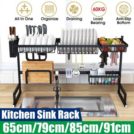 (5 Hooks, 60KG Load) 65CM/85CM Metal Dish Rack Over the Sink Kitchen Supplies Storage Shelf Countertop Display Stand Tableware Drainer Organizer Utensils Holder ()